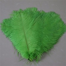 Lime Green Ostrich Tail Feather 50pcs Soft Pure Pena Plumage for DIY Wedding Table Decoration Carnival Feather Costume(China)