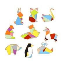 ShuangShuo Animal Enamel Pins Origami Crane Pins Elephant Rabbit Penguin Pin Horse Whale Goose Cat Pins and Brooches for Women