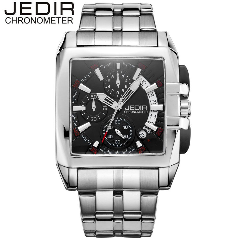 JEDIR Classic Square Orologio Uomo Mens Watches Day Stop Watch Male Quartz-watch Wristwatch Montre Homme Gift Box Free Ship<br>