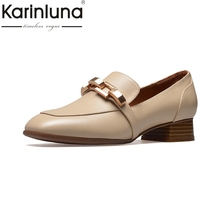 Buy KARINLUNA genuine leather Size 34-39 Square Toe white apricot Women Pumps Fashion Square Heels Slip Leisure Shoes woman for $43.21 in AliExpress store