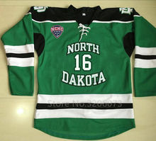 #16 Brock Boeser North Dakota Fighting Sioux University Hockey Jersey Embroidery Stitched Customize any number and name Jerseys(China)