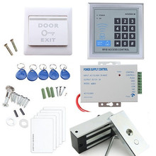 Rfid Access Control System Full Kit Set + 60kg (100Lbs) Electronic Door Lock +Power Supply +Exit Button+ID Key Fobs & ID Card(China)