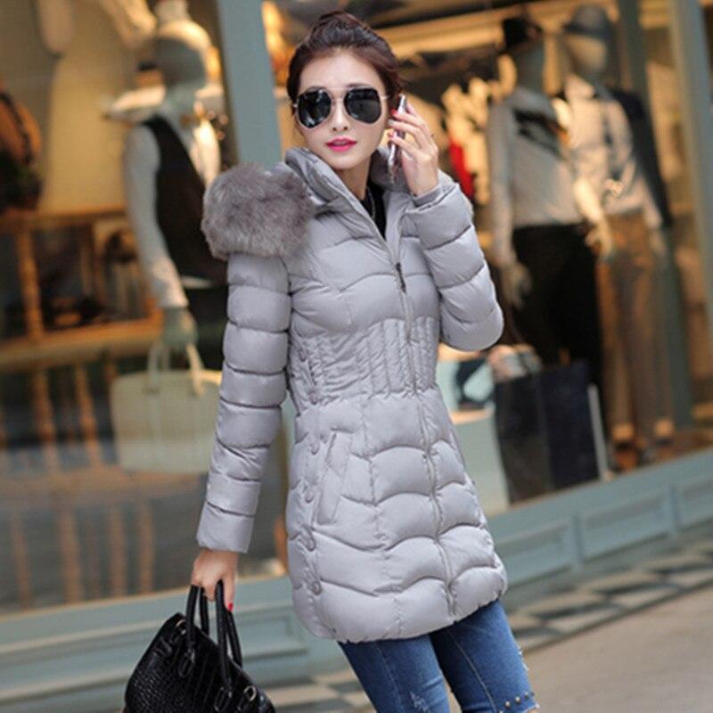 Plus Size 4XL 2017 Winter Padded Jacket Female Long Cotton Overcoat Fur Hooded Elegant Casual Long Sleeve Women Coat Park FC2460Îäåæäà è àêñåññóàðû<br><br>