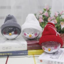 Clear Christmas Decoration Hanging Ball Baubles Transparent Plastic Christmas Tree Snowman Ornaments Home Decoration L30(China)