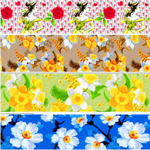 pick color size 16 25 38 50 75 mm width rose flower Floral Printed polyester Grosgrain Ribbon or Satin Ribbon  XF123