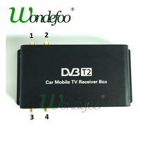 Car 4 Antenna DVB-T2 180-200km/h 4 Mobility Chip DVB T2 Car Digital TV Tuner HD 1080P TV Receiver BOX DVBT2(China)