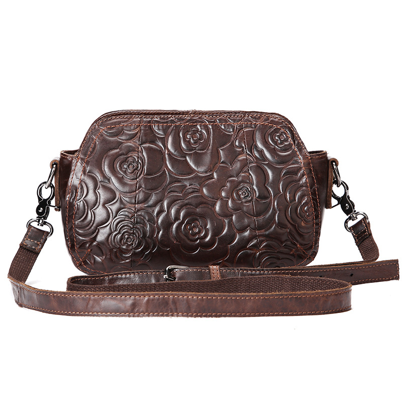 Vintage Luxury Genuine Leather Casual Shell Bag Womens Handbag Shoulder Bag Ladies Small Messenger Bags Flower Engraved<br>