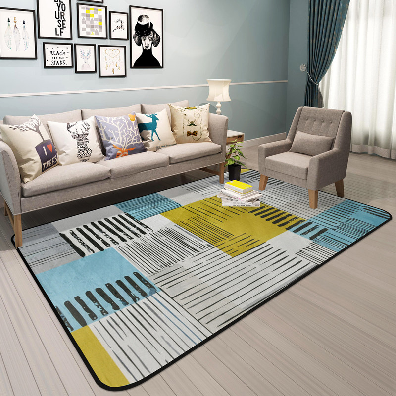 Nordic Fashion Strieped Carpets Living Room Warm Bedroom Soft Area Rug Sofa Coffee Table Floor Mat Study Carpet Rugs Tatami