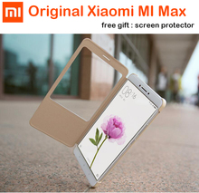 100% Original Xiaomi Mi Max case PC+PU Smart Flip Cover For Xiaomi Mi Max Mobile Phone shell with protector film Gift for mi max(China)