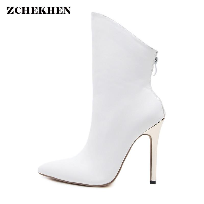 Women White Black Irregular Ankle Boots Thin Metal Heels Women Short Boots Fashion Womens High Heel Boots<br>