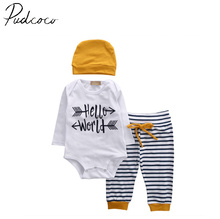 3Pcs Summer bulk Infant Baby Boy Romper Tops LONG sleeve hello world T-shirt+Pants +Beanie + Hats Outfit Set Clothes 3-18M(China)