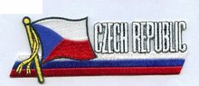 "Make items as client request, Czech Republic Flag Patch,3"",heat cut, iron on backing, 100pcs/plastic bag, MOQ50pcs,free shipping"