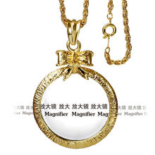 New Women Cutie Bowknot Fashion Necklace With 2X Magnifying Glass 65cm Pendants Daily Reading Purpose Long Chain Necklaces