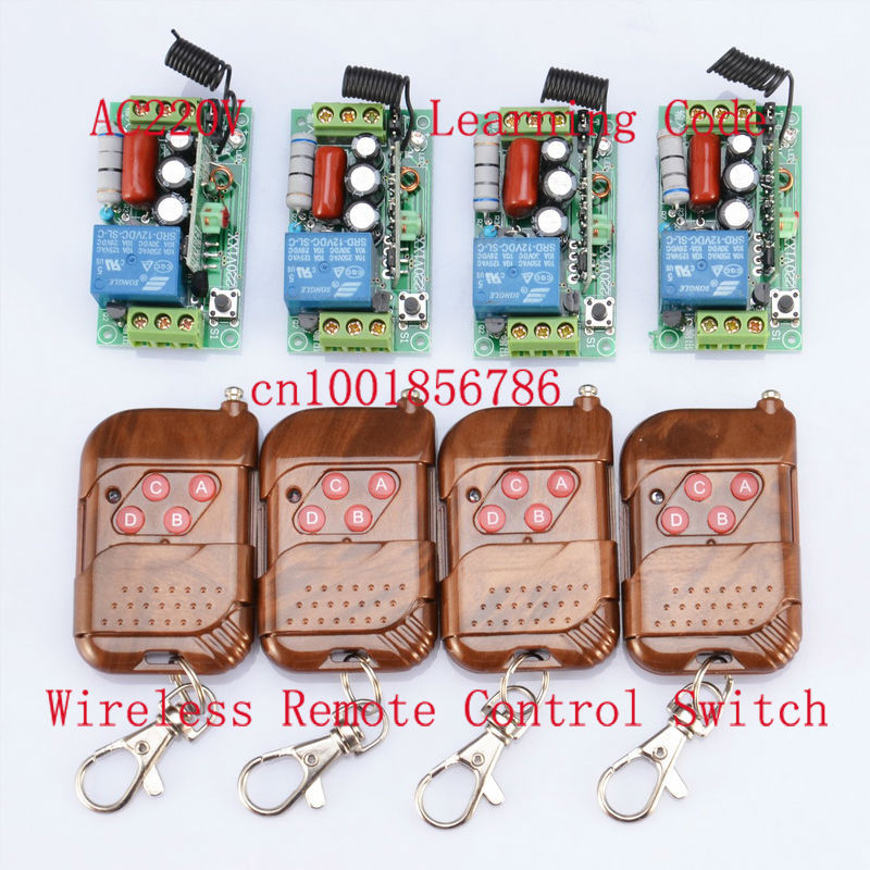 FreeShipping 4receiver And 4 transmitter 220V 1CH 1000W RF Wireless Remote Control System Latched light switch<br>