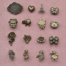 20Pcs/set Patchwork Handmade Pure Copper Tricks Three-dimensional Buckle Button Buckle Spring Buckle Zakka Retro Metal Buttons