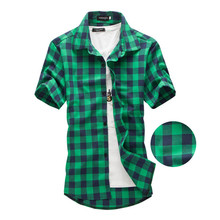 Navy and Green Plaid shirts Men 2017 New Arrival Summer Men's Casual Short sleeve Shirts Fashion Chemise Homme Men Dress Shirts(China)