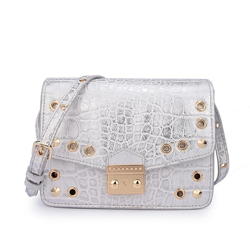 2017 Women Messenger Bag High Quality Leather Mini Reviet Alligator Flap Crossbody Bags Women Fashion Small Shoulder Bags Female<br>