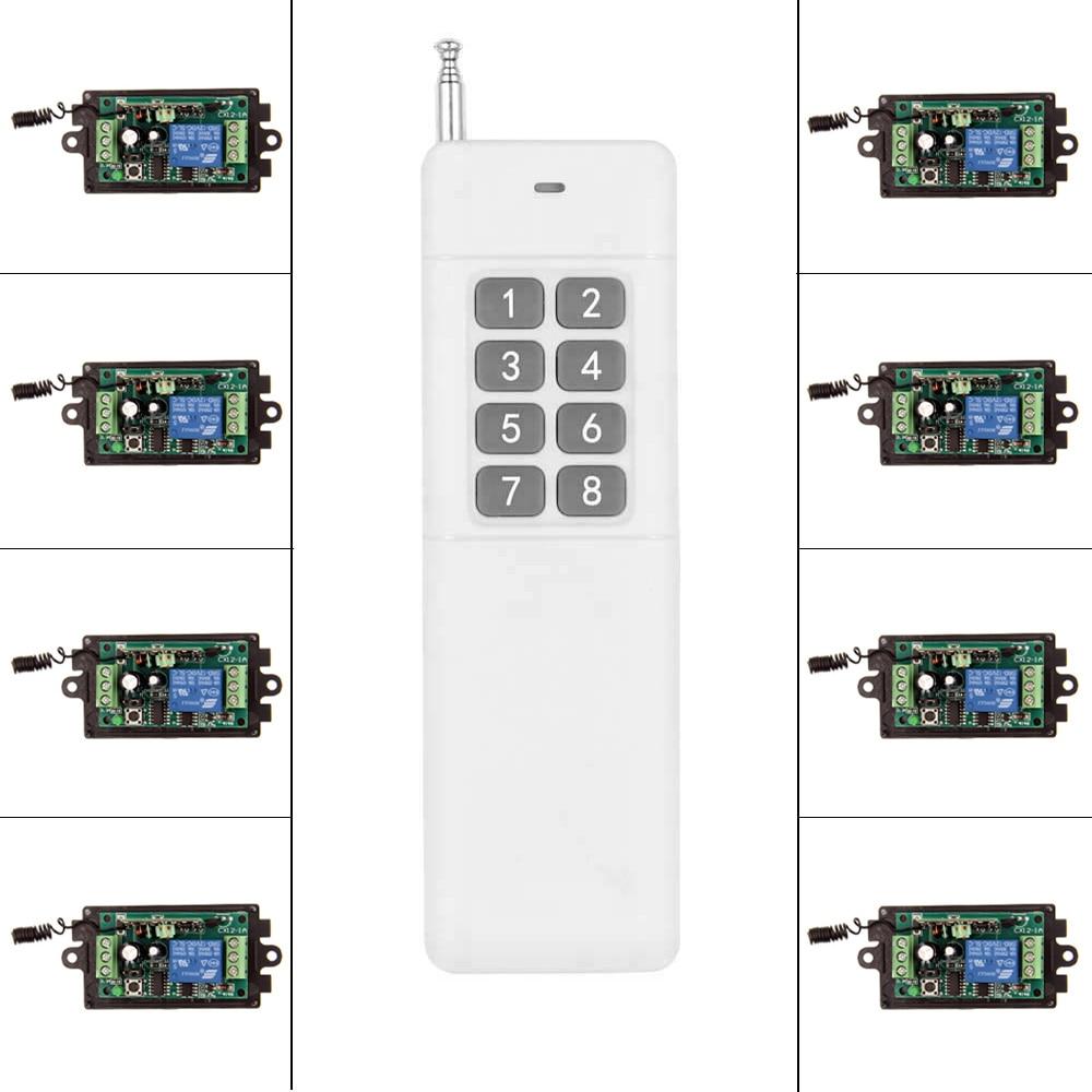 3000m DC 9V 12V 24V 1 CH 1CH RF Wireless Remote Control Switch System,315/433 MHZ 8CH Transmitter + 8 X Receiver,Momentary<br>
