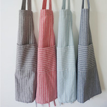 Stripe Colour Concise cooking Apron Cotton Kitchen Work Clothes Sleeveless Lovers tablier
