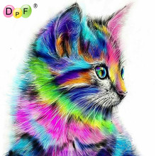 DPF Diy Diamond Painting color Animals Squirrel full Cat 5d Square Diamond Mosaic Cross Stitch Kit Diamond Embroidery home decor(China)