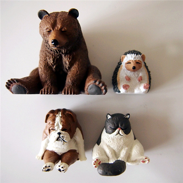 Cute Lazy Sitting Pets Animals Bear Cat Dog Hedgehog Lifelike pvc toys fridge magnets - 12