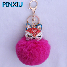 New Women Crystal fluffy Keychain Fox Pompom Key Ring llavero Pom Pom Rabbit Fur Ball Key Chain Bag Chaveiro Femme Porte clef