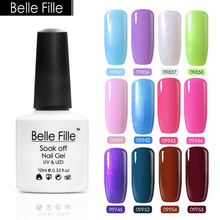 Belle Fille10ml UV Color Gel Gelpolish Soak Off UV Gel Nail Polish Blue Purple Violet Green Brown Coffee Pink White Nail Lacquer