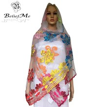2017 New Arrival Muslim embroidery women African small scarf with stones ,small net scarf for women shawls wraps