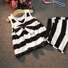 2016 Baby Girls Clothing Set Stripe Bowknot Vest +Shorts Clothes Suits PCs Children Girl Tanktop Twinset 2