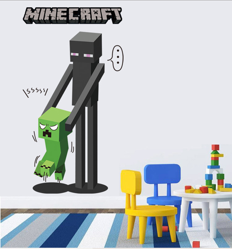 HTB1ArjQnzoIL1JjSZFyq6zFBpXaJ - Newest Minecraft Wall Stickers 3D Wallpapers Kids Room Decals Minecraft Steve Home Decoration Popular Games Home Free Shipping