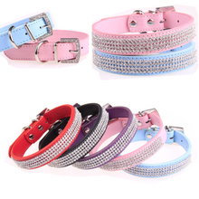 New Bling Pet Dog Collar PU Leather Rhinestone Diamond Designer Collar for cats dogs Adjustable Necklace Dog Collars