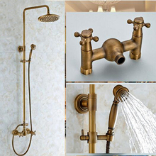 "Luxury Antique Brass Wall Mounted 8"" Round Rain Shower Head Faucet Cross Handle Shower Mixer Tap"