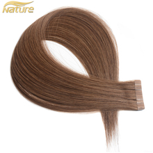 NatureHERE Tape In Human Hair Extensions 2.5g/pc 16-24 Inch Non Remy European Straight 100% Human Hair 10pcs/lot 1# 2# 4# 6# 1b#