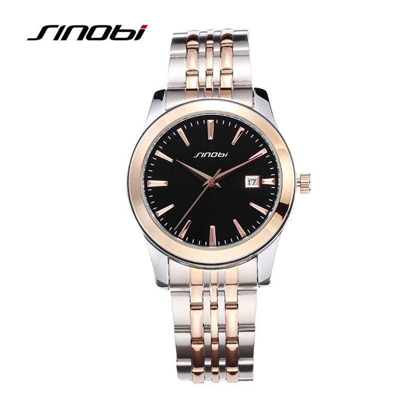 SINOBI Rose Gold Luxury Wrist Watch Clock Women Reloj Mujer Ladies Quartz Watch Women Waterproof Relogio Feminino 2017 With Date<br>