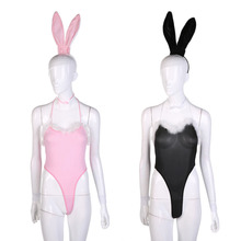 Costume Cosplay Sexy Fancy Bunny Rabbit Lingerie Full Set Halter Dress Temptation Baby Doll Uniform Party Black/Pink