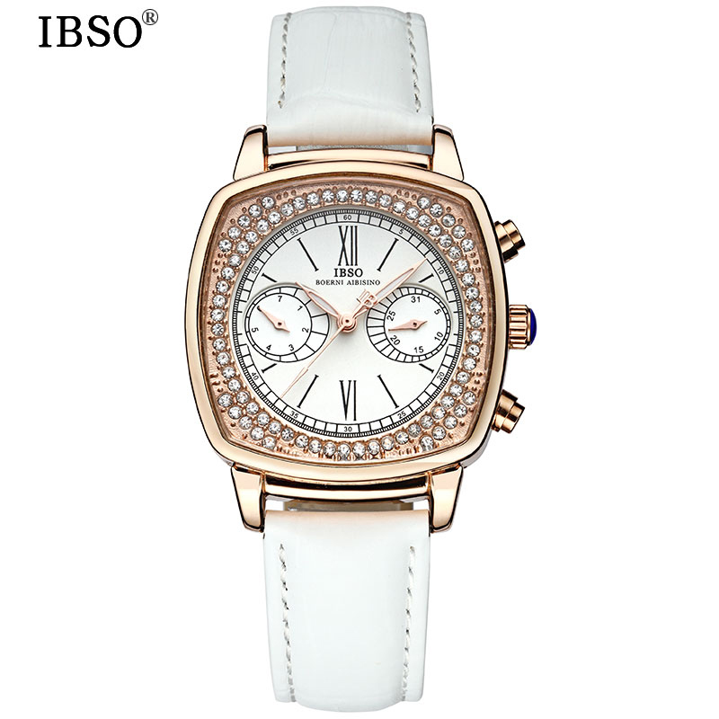 IBSO Top Brand Fashion Women Watches 2017 Crystal Diamond Multifunction Quartz Watch Women Genuine Leather Strap Montre Femme<br>