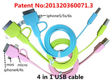 4 in 1 usb cable Charging & data Applicable to micro usb otg adapter hub data cable 1m 2m charger asamsung galaxye s4 mini