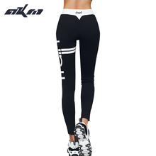 Womens Casual 2017 Women Activewear sexy cut exercise Leggings fall Black pants waist fashion printing leggings Slim pants