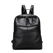 New Women Backpack Mochila Lesuire Black Soft PU Leather Backpack School Bag for Teenage Girls Back Pack Shoulder Bag Women Bag