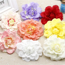 new Silk Artificial Dahlia Flowers Head For Wedding Decoration DIY Garland Decorative Floristry Fake Flowers 2pcs