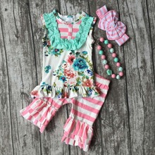 baby girls summer floral outfits children top with stripe ruffle capri clothing baby girls boutique ooutfits with accessories(China)