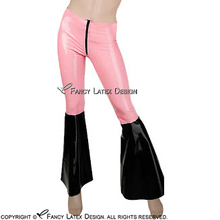 Baby Pink With Black Bottom Sexy Latex Leggings With Flared Legs Rubber Bell Bottom Pants Trousers CK-0027(China)