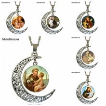 Mendittorosa St Anthony Fashion Glass Cabochon Moon Pendant Necklace Choker Necklace Jewelry For Men Women(China)
