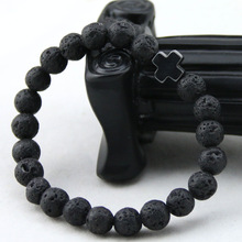 2017 New Arrival Mens Beaded Jewelry 8mm Lava Stone Beads Gallstone Cross Bracelets Party Gift Yoga Jewelry