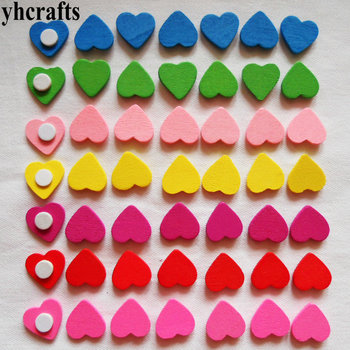 YHCRAFTS 100PCS/LOT.Wood heart star flower stickers Early