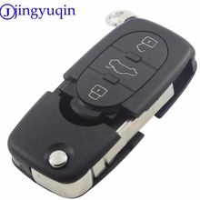 jingyuqin 5ps/lot For Audi A4 A6 A8 S4 S6 S8 Cabriolet Allroad TT Flip Folding Car Key Fob Shell Replacement Case +Button Panic