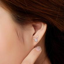 New Ladies Korean Fashion Silver Jewelry Angel Wings Crystal Ear Stud Earrings Exquisite women fashion Earrings EAR-0490