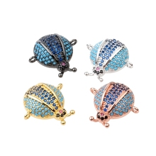 Necklace Bracelet Micro Pave CZ Crystal Beetle Connectors Gold Color Sliver Color Metal Jewelry Making ladybird ladybug(China)