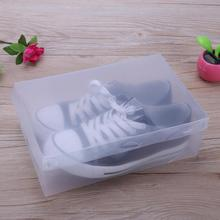 10Pcs Transparent Makeup Organizer Clear Plastic Shoes Storage Boxes Foldable Shoes Case Holder Home Useful Tools 28x19x10cm(China)