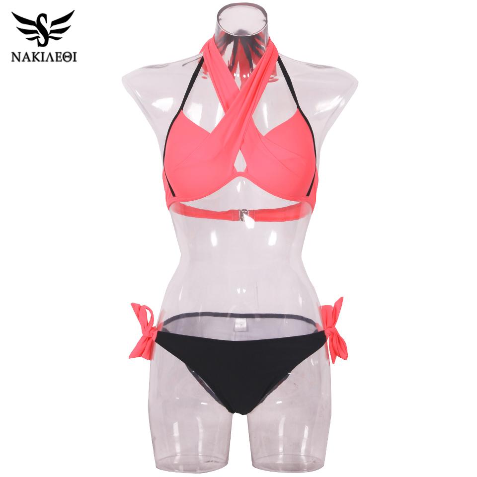 NAKIAEOI 19 Sexy Bikini Women Swimsuit Push Up Swimwear Criss Cross Bandage Halter Bikini Set Beach Bathing Suit Swim Wear XXL 74